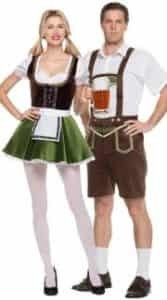 Couple wearing German Beer costume for theme party ideas.