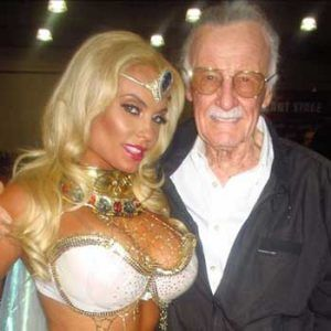 Image of Stan Lee (the creator of Spider Man) with hottie